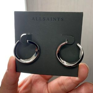 ALLSAINTS Sculptural Hoop Stud Earrings Silver